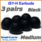 Medium Replacement Ear Buds Tips Pads Cushions for Sony XBA-4 XBA-4iP XBA-NC8 XBA-BT75 XBA-S6 @Black