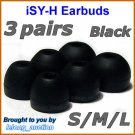 Replacement Ear Buds Tips Pads Sleeve Cushions for Sony XBA-4 XBA-4iP XBA-NC8 XBA-BT75 XBA-S6 @Black