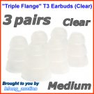 Medium Triple Flange Ear Buds Tip Cushion for Ultimate Ears 100 200 200vi 300 300vi 350 350vi @Clear