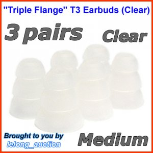 Medium Triple Flange Ear Buds Tip Cushion for Ultimate Ears 400 400vi 500 500vi 600 600vi 700 @Clear