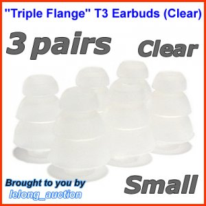 Small Triple Flange Ear Buds Tips Pads Cushions for Skullcandy In-Ear Earphones Headphones @Clear