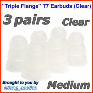 Medium Replacement Triple Flange Ear Buds Tips Cushion for Klipsch In-Ear Earphones Headphone @Clear