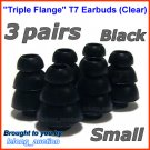 Small Replacement Triple Flange Ear Buds Tips Sleeves Cushions for JAYS d-JAYS q-JAYS s-JAYS @Black