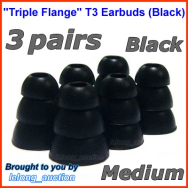 Medium Triple Flange Ear Buds Tips Pads Cushions for Skullcandy In-Ear Earphones Headphones @Black
