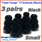 Small Triple Flange Ear Buds Tips Cushion for Ultimate Ears 400 400vi 500 500vi 600 600vi 700 @Black