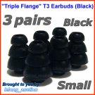 Small Triple Flange Ear Buds Tips Cushion for Ultimate Ears 100 200 200vi 300 300vi 350 350vi @Black