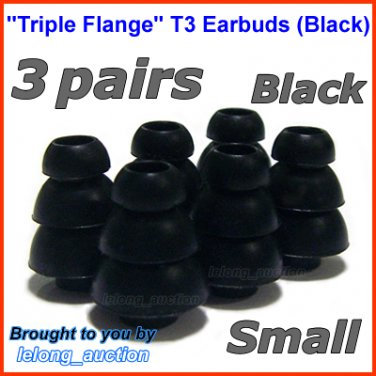 Small Triple Flange Ear Buds Tips Cushion for Ultimate Ears 100 200 200vi 300 300vi 350 350vi @Black
