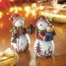 Festive Christmas Holiday Snowman Couple Figurines