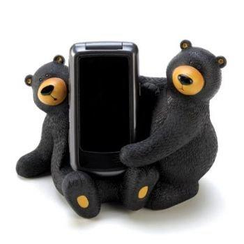 Black Beary Bear Couple Decorative Cell Phone Holder