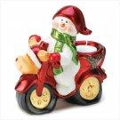 Biker Snowman Metallic Finish Ceramic Christmas Candle Holder & Collectible Figure