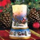 Santa's Flight Scenic LED Lighted Flameless Christmas Candle Decoration