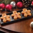 Christmas Holiday Gingerbread Cookie Scented Figural Candle Trio With Metal Tray