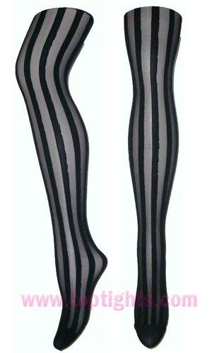 Black Sheer Opaque Vertical Stripe Striped Stockings