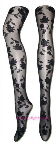 Rose Pattern Sheer Tights Fashion Lingerie Floral Hosiery Pantyhose