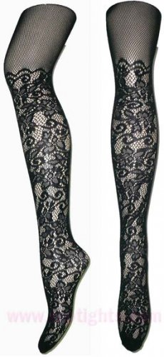 Black Lace Fishnet Tights Stockings Vintage Women Hosiery