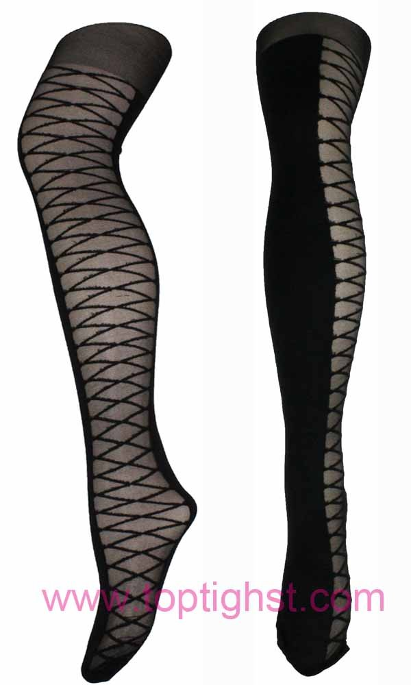 Ladies Sheer Side Criss Cross Patterned Fashion Tights Christams Lingerie Hosiery Pantyhose