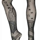 Black Muti-star Pattern Lace Fishnet Tights Stockings Vintage Women Hosiery
