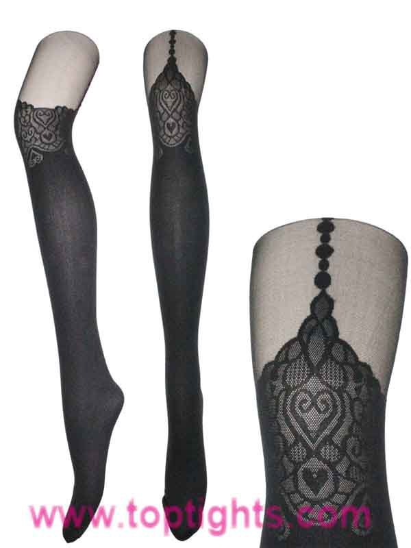 Runway Black Heart Suspender Tights Celeb Fashion Stockings Hosiery Lingerie