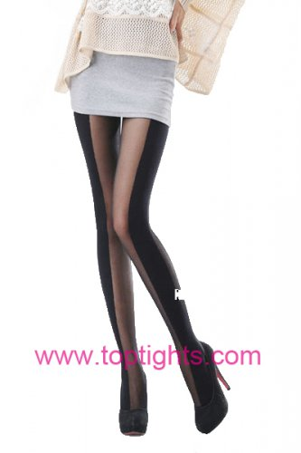 Side Vertical Stripe Striped Print Tights Hosiery Pantyhose