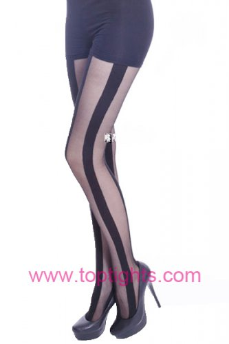 Wide Vertical Stripe Tights Striped Print Hosiery Pantyhose