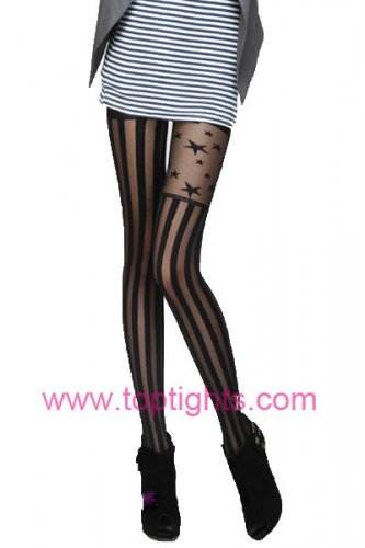 Full Length Vertical Stripe Striped Star Print Tights Hosiery Pantyhose