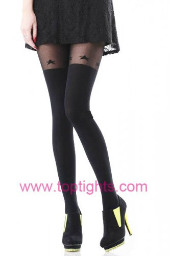 Star Hold Up Stocking Over the Knee Print Tights Full Length