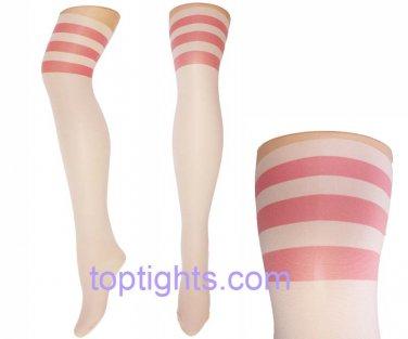 Pink Hoops Stripes Over the Knee Print Tights NauticaL Kawaii Fairy Kei