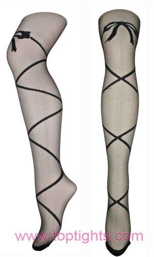 Sheer Criss Cross Bow Pattern Tights
