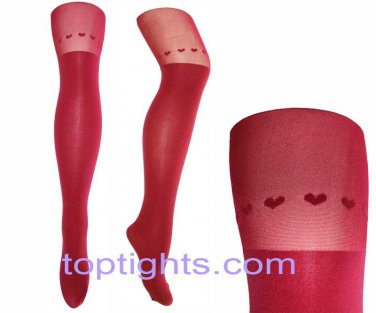 Red Over the Knee Heart Print Tights Hosiery Stockings