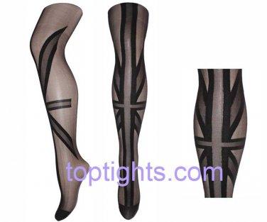 Union Jack Black Sheer Opaque Pattern Print Tights