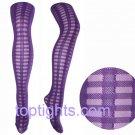 Purple Tartan Sheer Opaque Pattern Print Pattern Tights