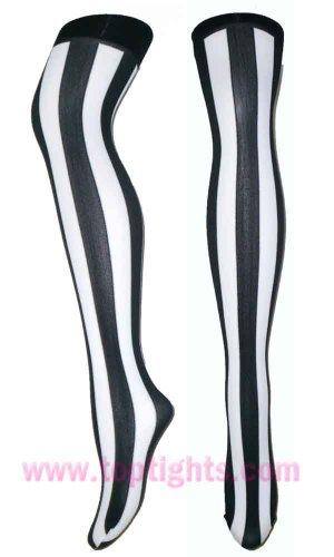 Black White Opaque Vertical Stripe Striped Stockings