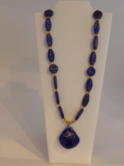 "26"" Stunning Cobalt Blue Vintage Beads with a Gold Shimmer"