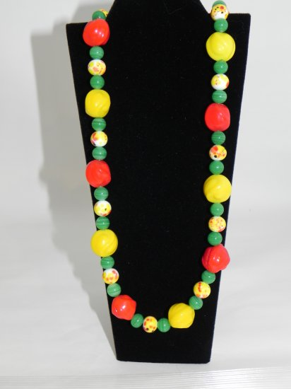 "25"" Yellow & Red Vintage and Czech Beads Accented with Jade"