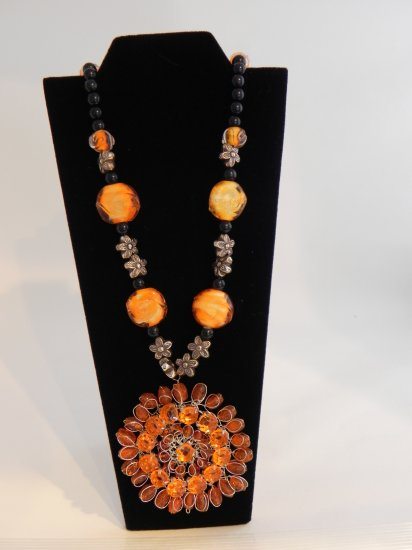 "22"" Vintage Orange Swirl Beads with an Orange and Silver Pendent"