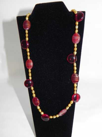 "22 1/2"" Round Blood Red Vintage Beads Accented with Gold Colored Beads"