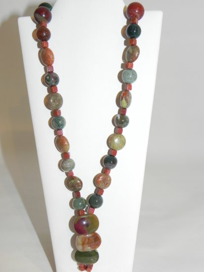 """22"""" Jasper Stones Accented with a Brown Glitter Stone that end in a Pendent Shape"""