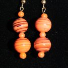 Orange and Black Lampwork Swirls Beads