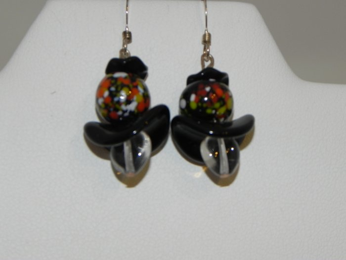 Vintage Lampwork  Flowered Beads with Black Accents