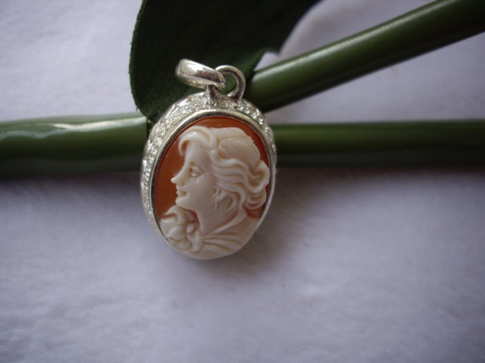 a lovely hand carved real shell beautiful lady cameo