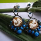 blue diamond turquoise stone with mermaid cameo earring