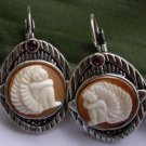 100%hand carved real shell cherub cameo earring