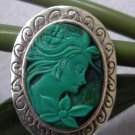 Promotional Pricehand carved Malachite lady cameo ring