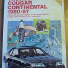 Chilton Repair & Tune-up Guide Thunderbird Cougar Continental 1980-87