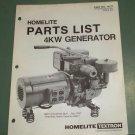 Homelite Generators, Parts List, Part No. 17177 4KW Generator Illustrated