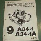 Homelite Generators, Parts List, Part No. 24693 9A34-1 & 9A34-1A models