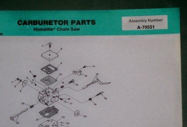 Homelite Carburetor Chain Saw Assembly No  A-70551