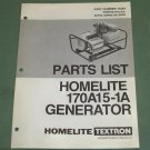 Homelite Generators, Parts List, Part No. 17239, Model 170A15-1A Illustrated
