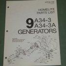 Homelite Generators, Parts List, Part No. 17136 Models 9A34-3 & 3A Illustrated