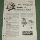 Homelite Pump, Parts List, Part No. 24187-A, Centrifugal Pumps, 120S3-1 & 1A